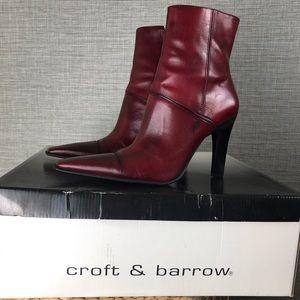 Croft & barrow Leather Pointed High Heel Booties 8